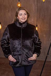 Женская короткая искусственная шуба большого размера без капюшона 39sb95