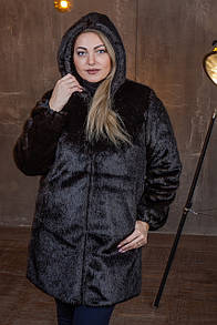 Темно-коричневая женская шуба из экомеха с капюшоном в больших размерах 39sb97