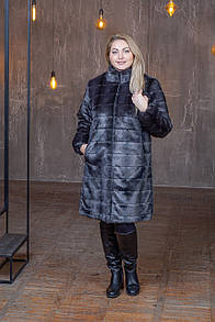 Женская шуба из экомеха в больших размерах с воротником - стойкой 39sb08