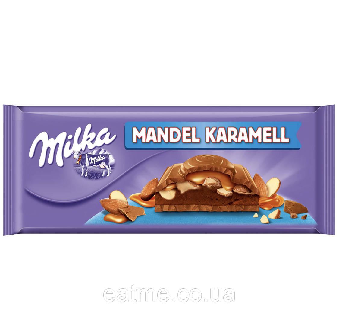 Milka Mandel Karamell Молочный шоколад с карамелью и миндалём