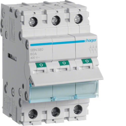 Выключатель напряжения (рубильник) 3-полюсний 80А/400В (SBN380)