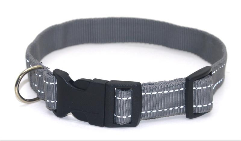 Ошейник для собак капроновый светоотражающий Неон ок 2,0 серый