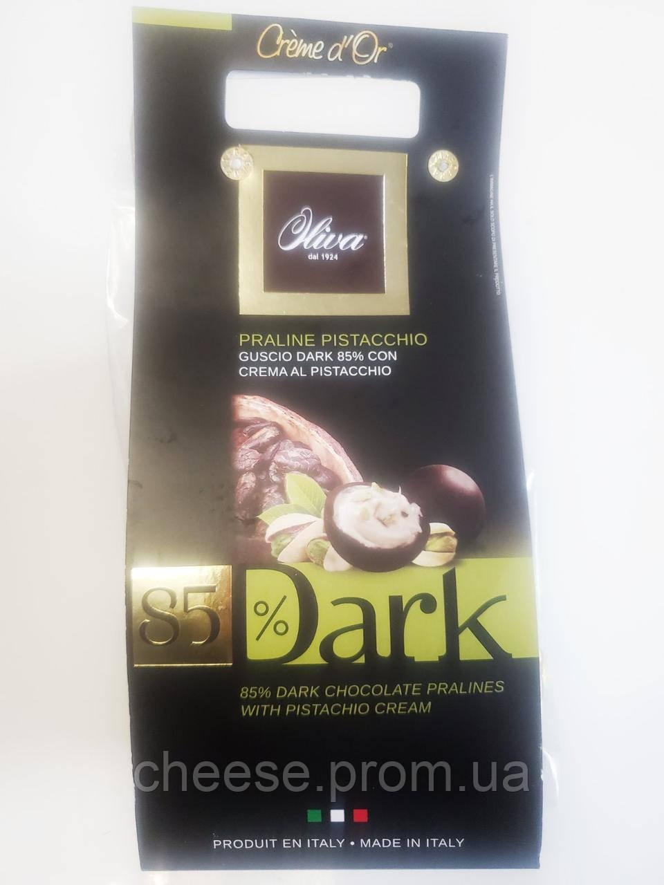 Конфеты пралине черный шоколад 85% с молочно фисташковой начинкой ТМ Олива