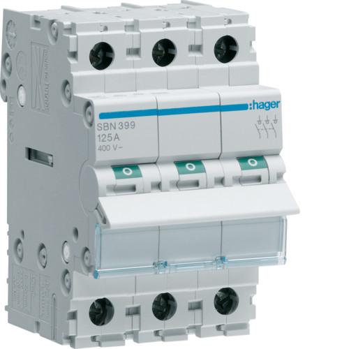 Выключатель напряжения (рубильник) 3-полюсний 125А/400В (SBN399)