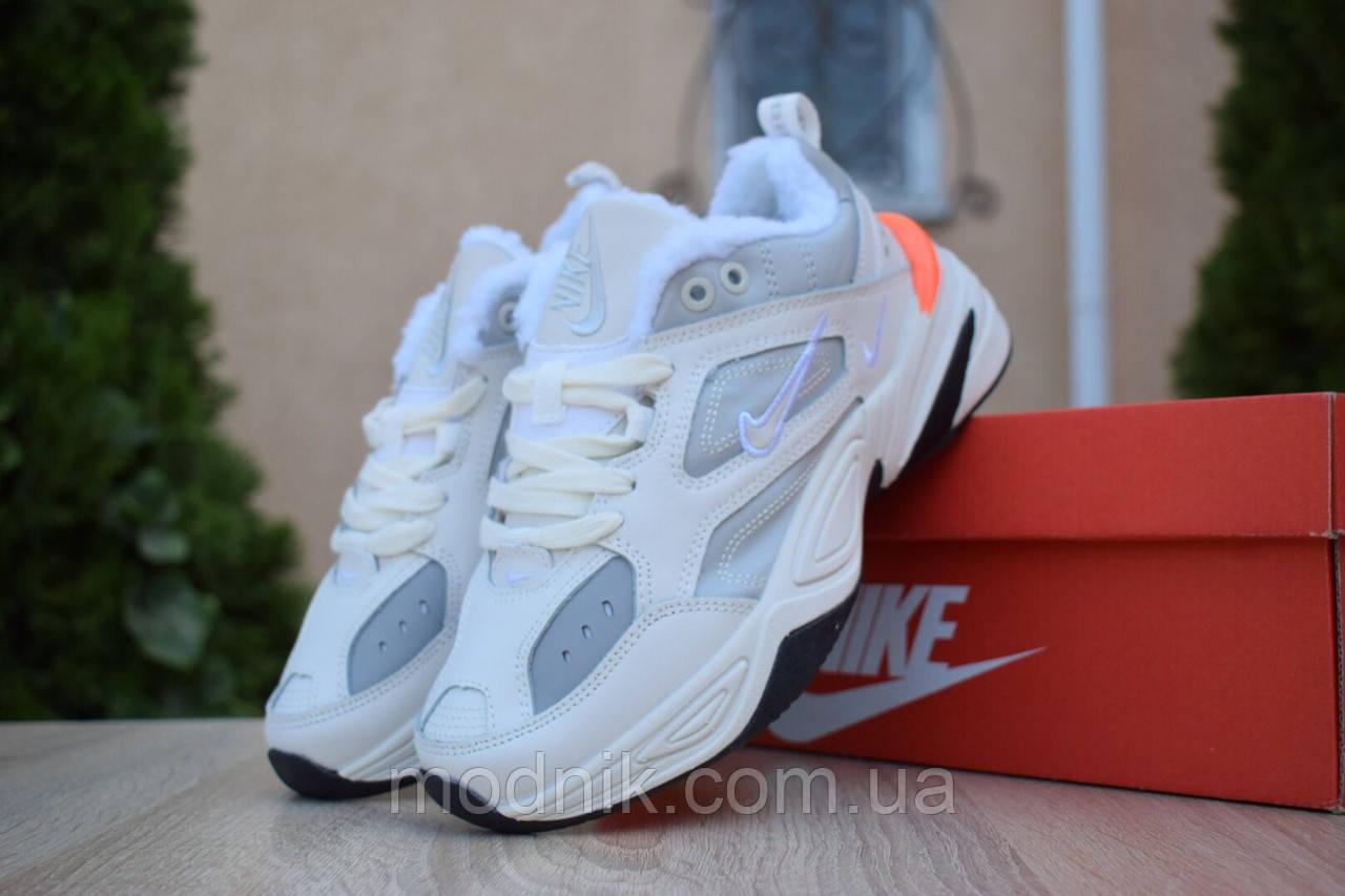 Женские зимние кроссовки Nike M2K Tekno (бежево-оранжевые)