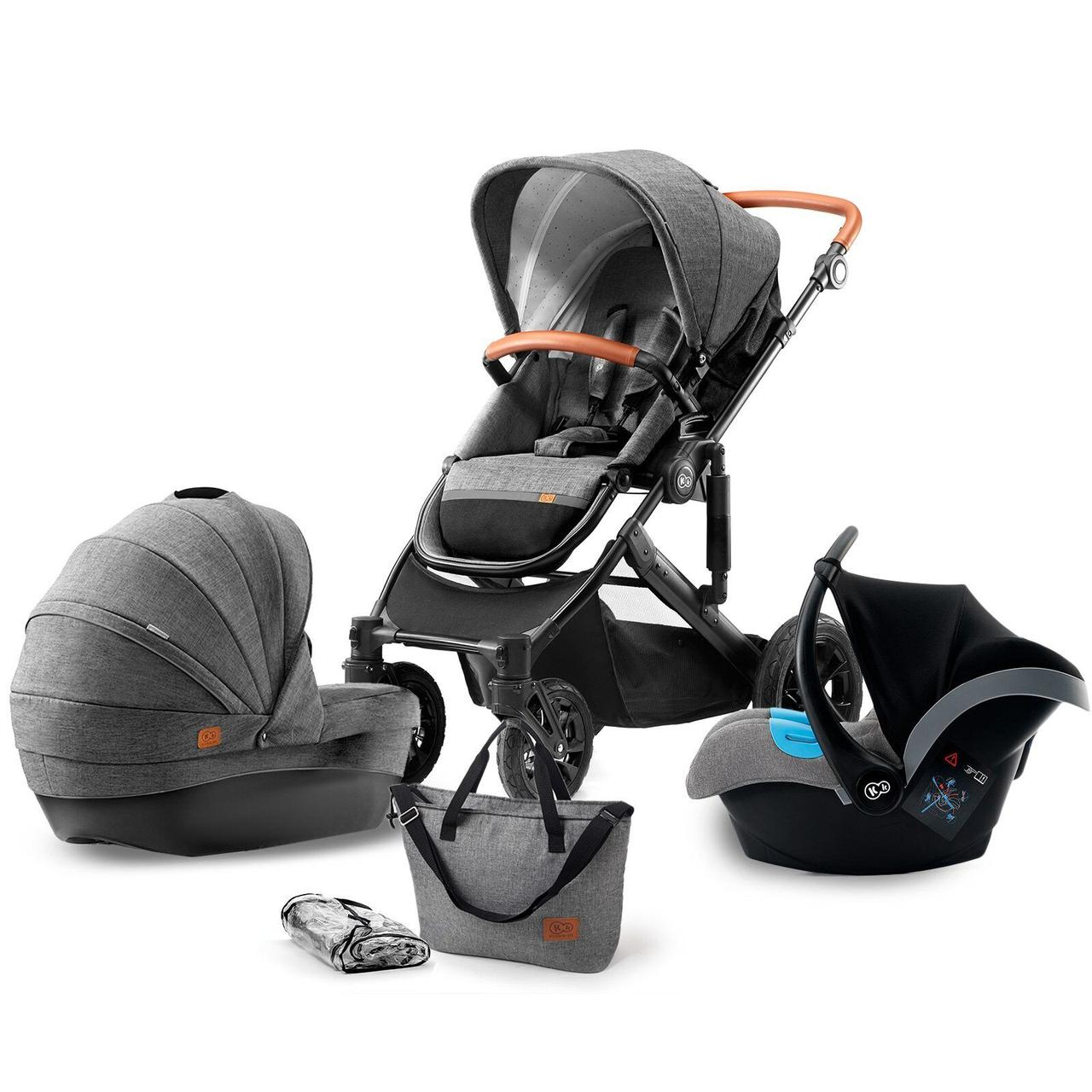 Коляска Kinderkraft Prime Gray 3в1 серая