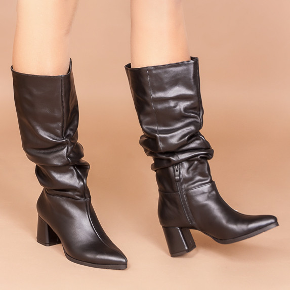 Кожаные черные женские сапоги-гармошки на среднем каблуке. Натуральная кожа. Зима, деми.