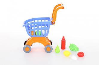 """Візок для маркету """"Міні"""" + набір продуктів №14 (12 елементів) (в сіточці) (Полісся)"""
