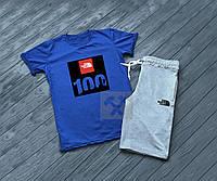 Мужской комплект футболка + шорты в стиле THE NORTH FACE синего и серого цвета