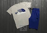 Мужской комплект футболка + шорты в стиле THE NORTH FACE серого и синего цвета
