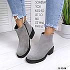 Женские зимние ботинки серого цвета, натуральная замша (под заказ  7-16  дней), фото 4