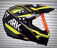 Мото Шлем эндуро кроссовый салатово-чёрный матовый Spark c визиром