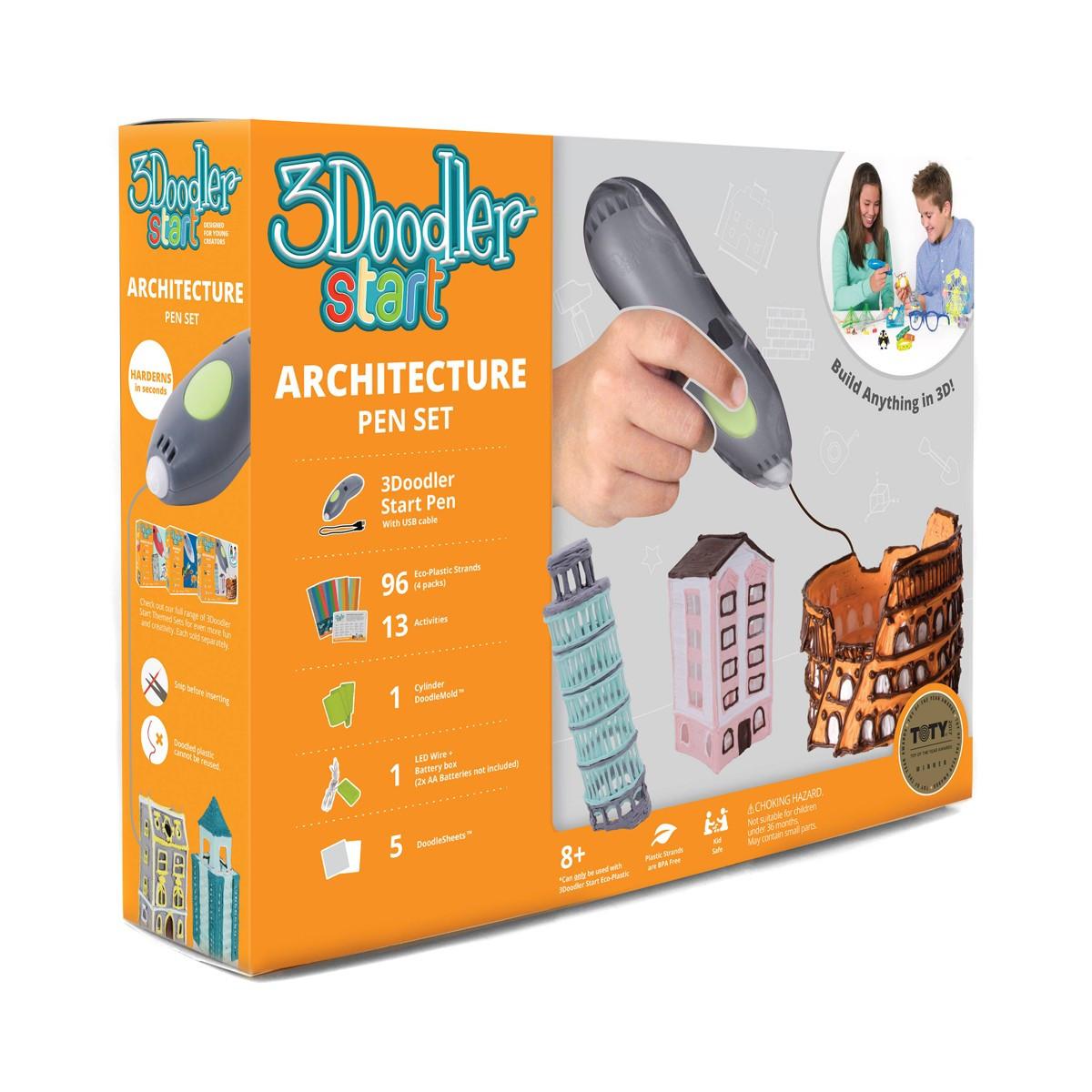 Детская 3D-Ручка 3Doodler Start Для Детского Творчества  - Архитектор (96 стержней, шаблон, аксессуары)