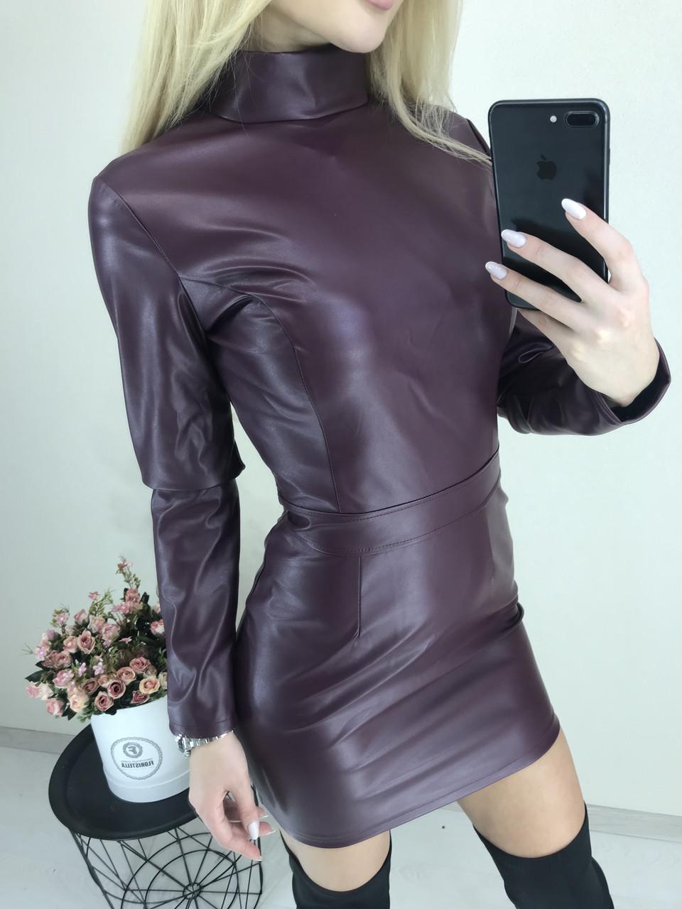 Приталенное платье из эко-кожи с длинным рукавом /разные цвета, 42-46, ft-424/ 44-46, Марсала