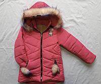 """Зимняя детская куртка для девочки """"Кукла Лол"""" 2-6 лет, малинового цвета"""