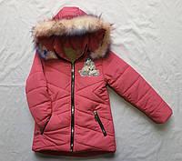 """Зимняя детская куртка для девочки """"Пони"""" 2-6 лет, малинового цвета"""