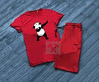 Мужской комплект футболка + шорты в стиле SUPREME красного цвета