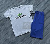 Мужской комплект футболка + шорты в стиле LAcoste синего и серого цвета