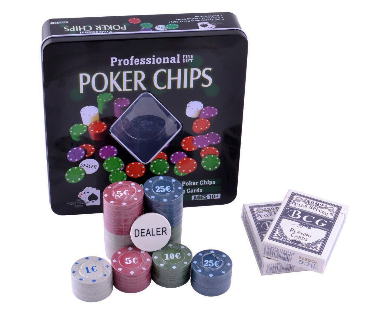 Набор для покера на 100 фишек с картами
