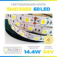 LED лента Epistar 24 вольта 5050 60 шт/m 14,4W/m IP33