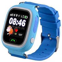 Детские умные смарт часы Q90S/100 с GPS и кнопкой SOS синие
