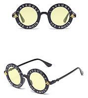 Имиджевые очки круглые черные с желтым