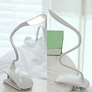 Настольная гибкая лампа с прищепкой
