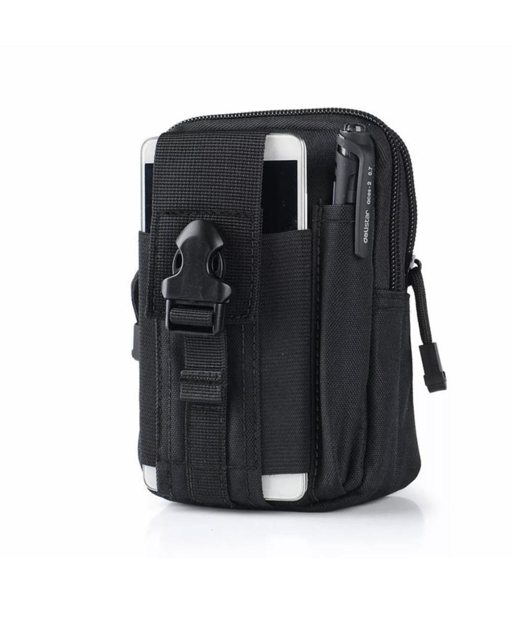 Універсальна тактична сумка на пояс в чорному кольорі «Forest» на блискавці для туризму,полювання та риболовлі