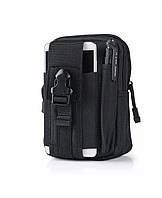 Универсальная тактическая сумка на пояс в черном цвете «Forest» на молнии для туризма,охоты и рыбалки
