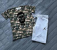 Мужской комплект футболка + шорты в стиле Jordan камуфляжного и серого цвета