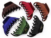 Каучуковые крабы для волос в темных тонах модель №2, разные цвета, 12 штук
