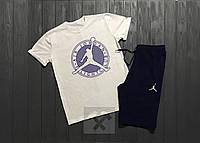 Мужской комплект футболка + шорты в стиле Jordan белого и синего цвета