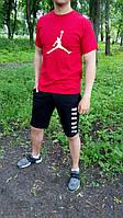 Мужской комплект футболка + шорты в стиле Jordan красного и черного цвета