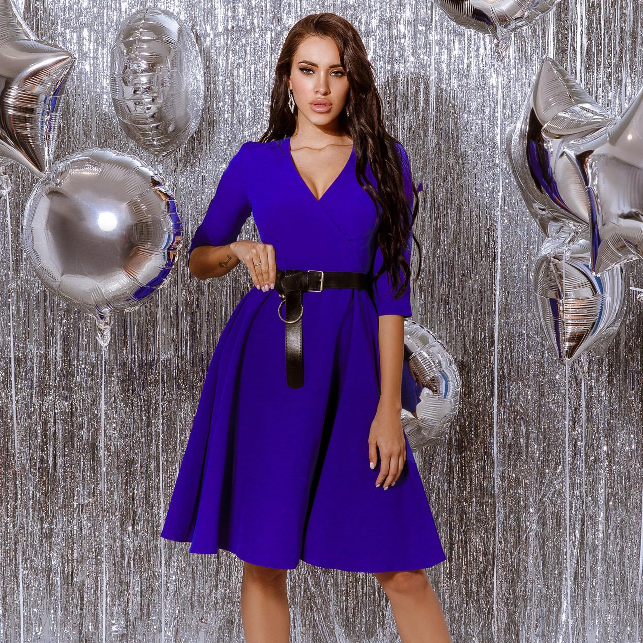 Платье женское с кожаным поясом Электрик