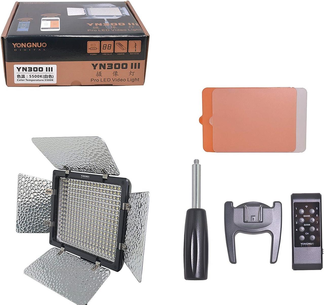 LED осветитель Yongnuo YN300 III mono-color 5500K CRI 95+ (постоянный видеосвет)