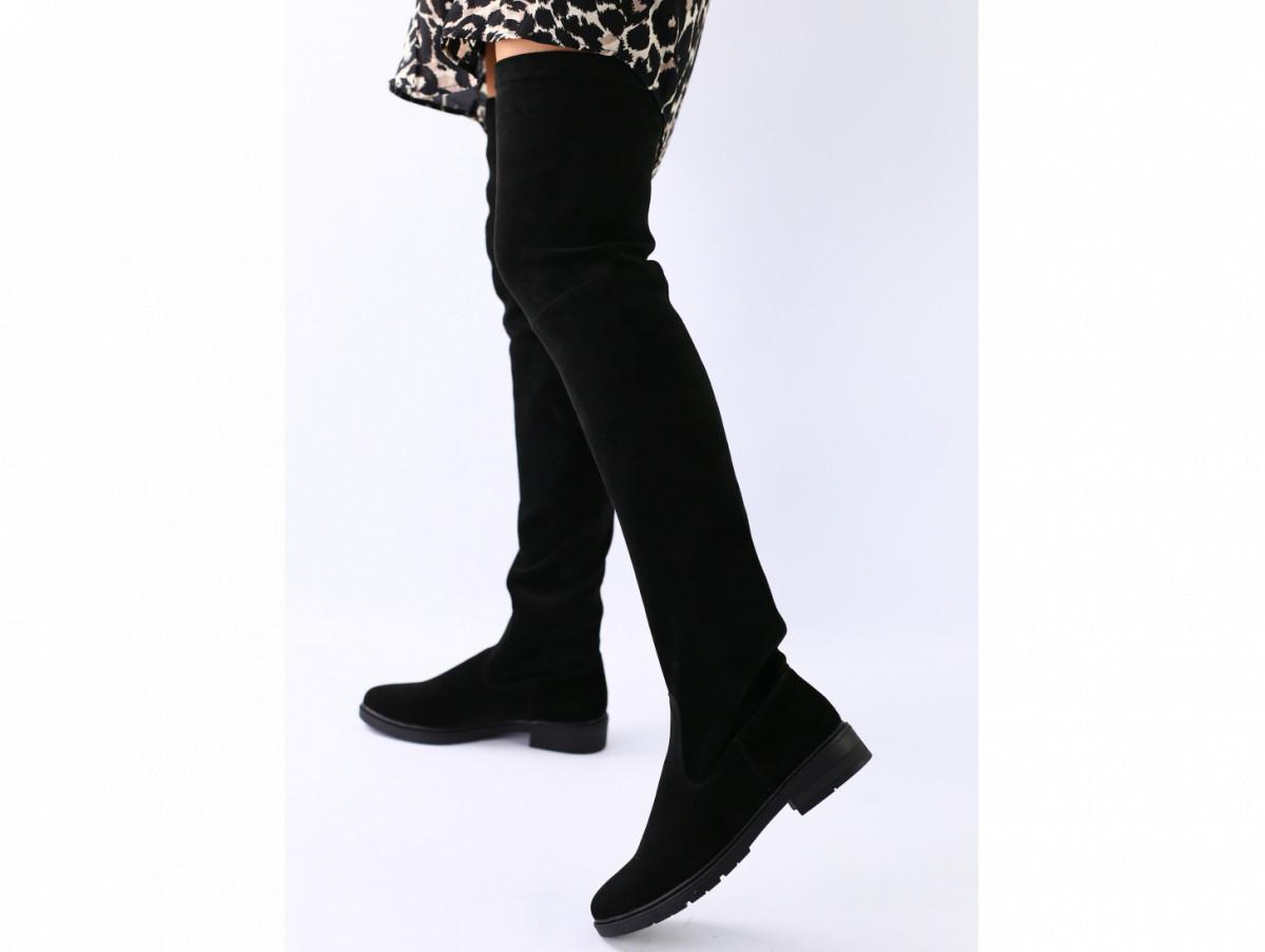 Зимние черные замшевые сапоги-чулки 36 размер