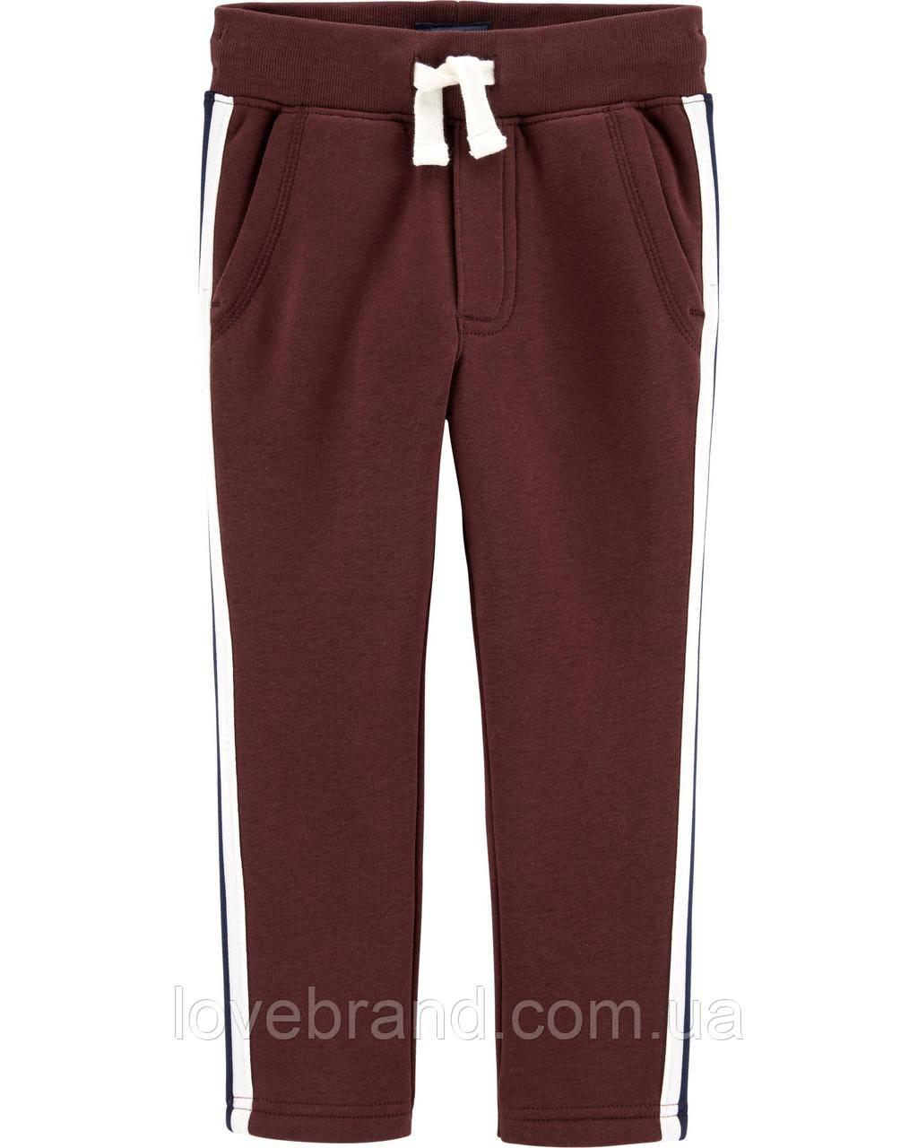 Теплые спортивные штаны для мальчика OshKosh бордовые с лампасами