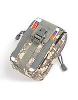 Универсальная тактическая сумка на пояс в цвете городской пиксель «City» на молнии для туризма,охоты