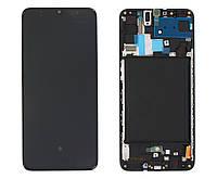 Дисплей Samsung A705 Galaxy A70, черный | с сенсорным экраном (тачскрин) и рамкой, оригинал