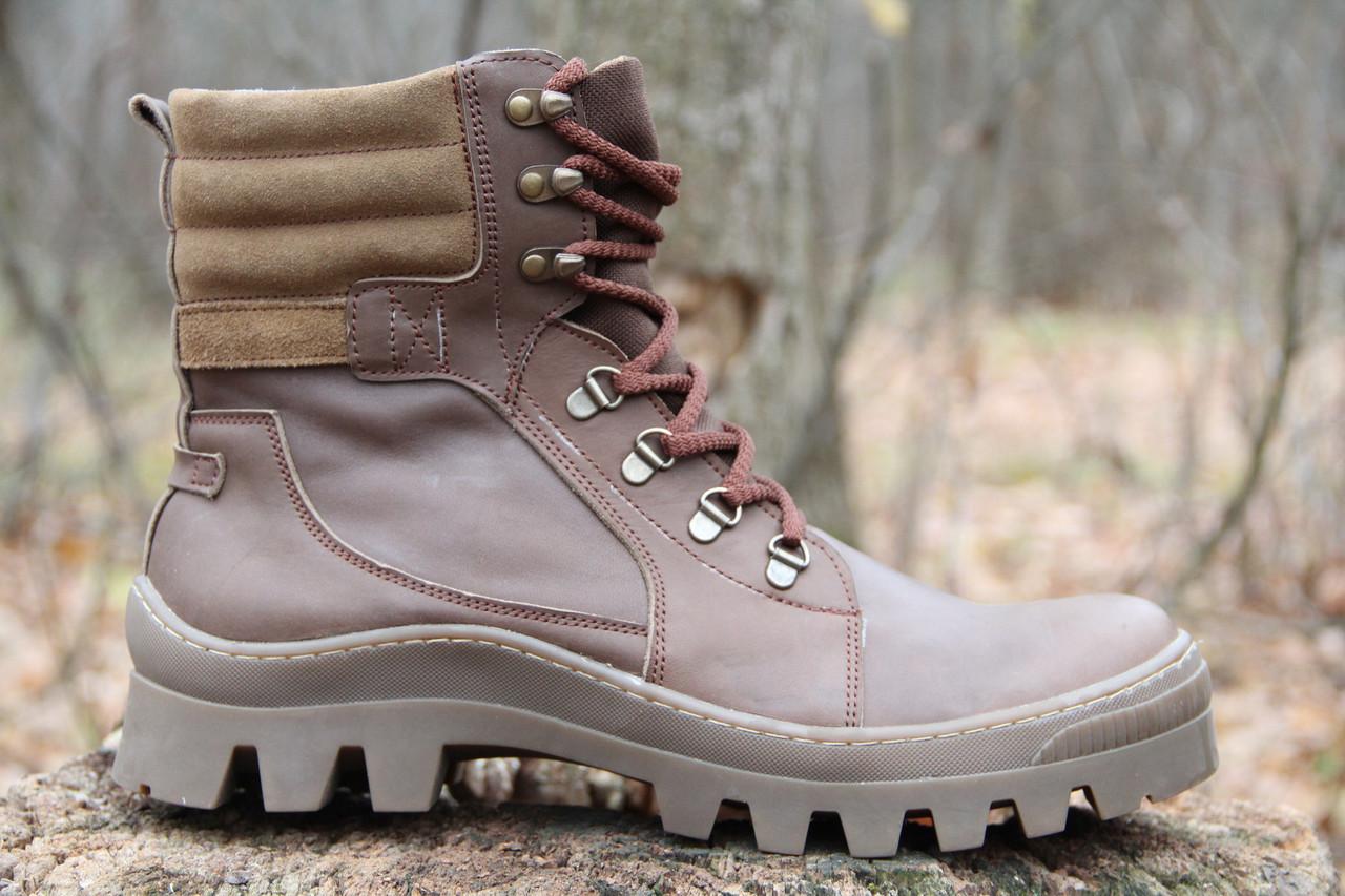 Ботинки Тактические берцы из натуральной кожи коричневого цвета NEW