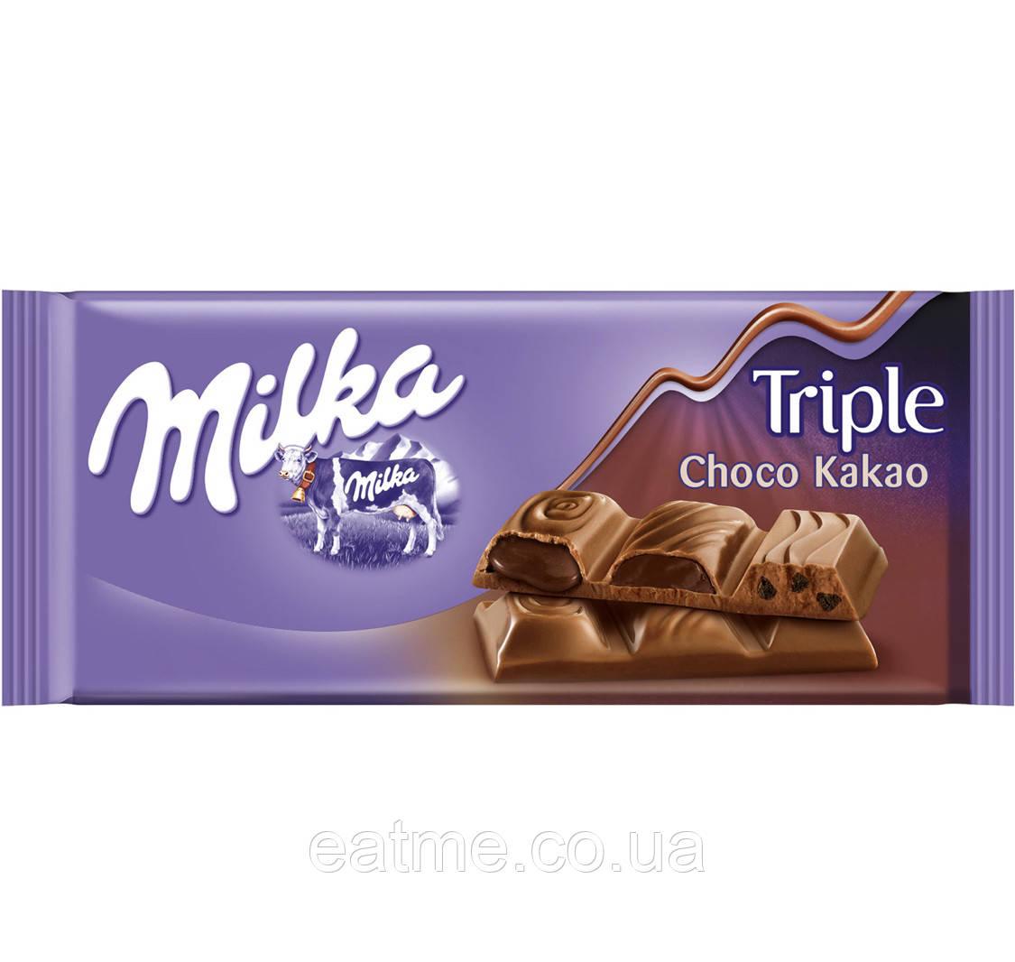 Milka Triple Choco Kakao Молочный шоколад с тремя видами начинки: жидкий шоколад, шоколадный мусс и кусочки