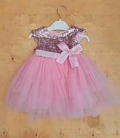 Платье на девочку интерлок+фатин, 5-6-7-8 лет, верх паетки,нежно розовый