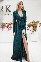 Вечернее длинное платье изумрудного цвета Грация