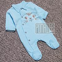 Тёплый человечек р 74 5-7 месяцев на флисе с начёсом детский комбинезон слип для мальчика ФУТЕР 5076 Голубой