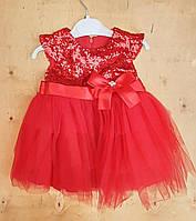 Платье на девочку интерлок+фатин, 5-6-7-8 лет, верх паетки, красный
