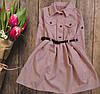 Платье вельветовое  с поясом для девочки подростка
