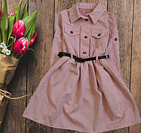 Платье вельветовое  с поясом для девочки подростка, фото 1