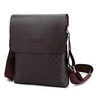 Стильная мужская сумка Polo кросс-боди, мягкая экокожа, коричневая