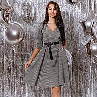 Платье женское с кожаным поясом Гусиная лапка