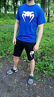 Мужской комплект футболка + шорты в стиле VENUM синего и черного цвета